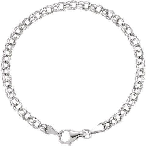 "14k White Gold 3.75mm Solid 7"" Charm Bracelet"