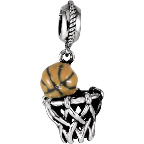 Kera Basketball and Hoop Dangle in Sterling Silver