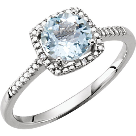 Sterling Silver Aquamarine & .01 CTW Diamond Ring, Size 8