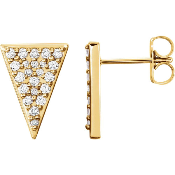 14k Yellow Gold 1/3 CTW Diamond Triangle Earrings with Backs