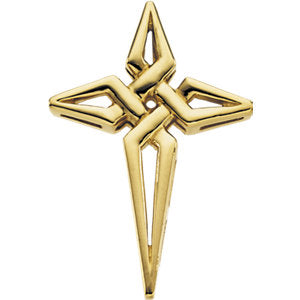 14k Yellow Gold 29x21mm Cross Pendant