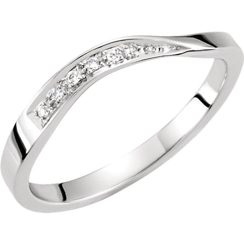 14k White Gold Stackable Diamond Wave Ring, Size 7