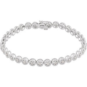 1 CTTW Diamond Bracelet in 14k White Gold ( 7 Inch )