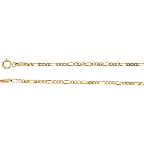 "14k Yellow Gold 2mm Solid Figaro 18"" Chain"