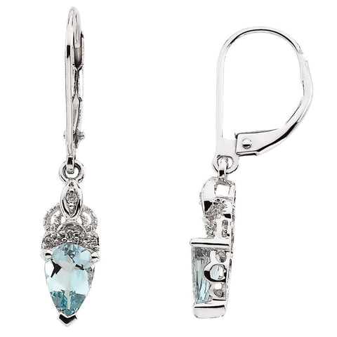 Pair of 8X5 mm and 0.04 CTTW Genuine Aquamarine and Diamond Earrings in 14K White Gold