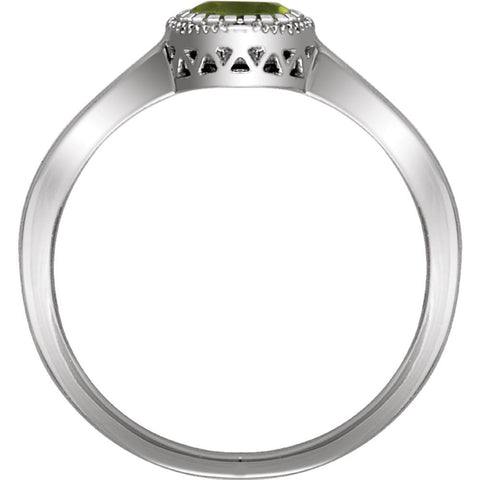 "14k White Gold Peridot ""August"" Birthstone Ring, Size 7"