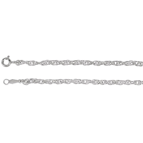 Solid Rope Chain with Spring Ring in Sterling Silver ( 20 Inch )