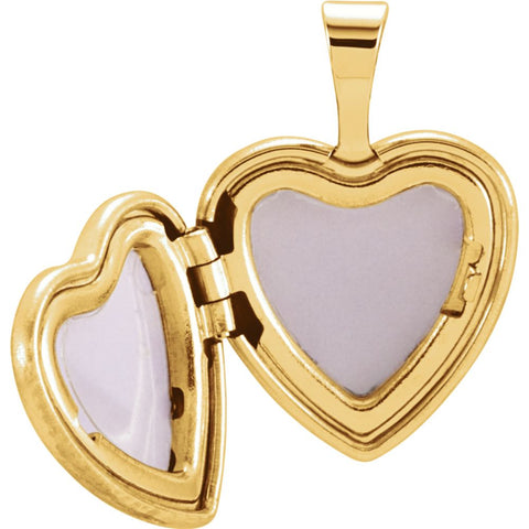 14K Yellow Gold-Plated Sterling Silver Diamond Angel Heart Locket
