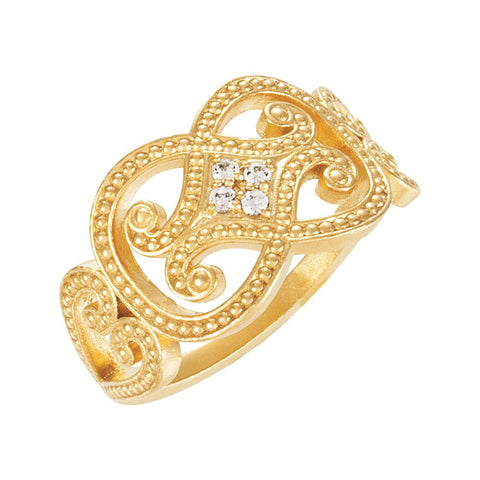 14k Yellow Gold .06 CTW Diamond Granulated Ring, Size 7