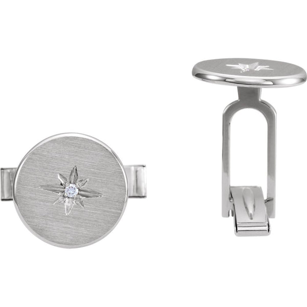 14k White Gold .03 CTW Diamond Starburst Men's Cuff Links