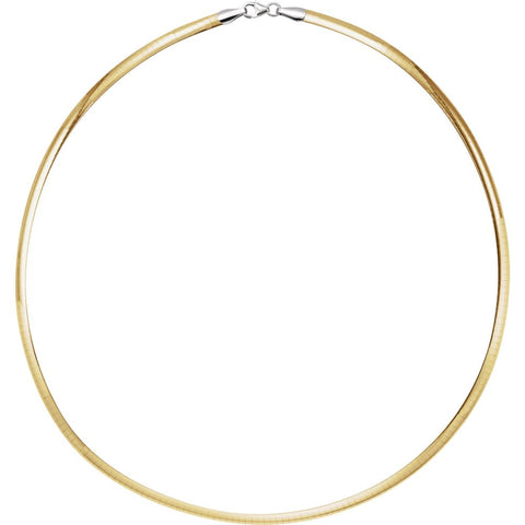 4 mm Sterling Silver and 14K Yellow Gold Reversible Omega ( 16.00-Inch )