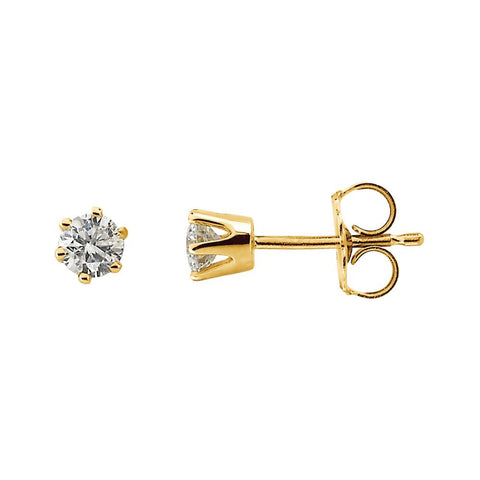 14k Yellow Gold 1/3 CTW Diamond Friction Post Stud Earrings