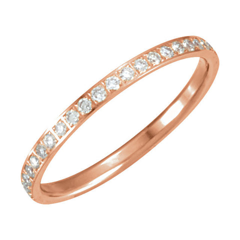 14k Rose Gold 3/8 CTW Diamond Eternity Band Size 7