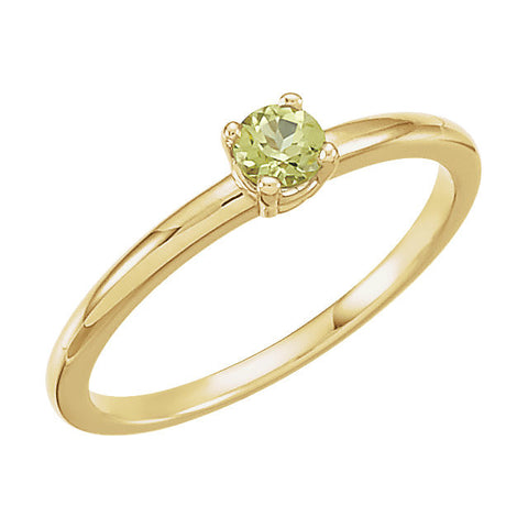 "14k Yellow Gold Peridot ""August"" Youth Birthstone Ring, Size 3"