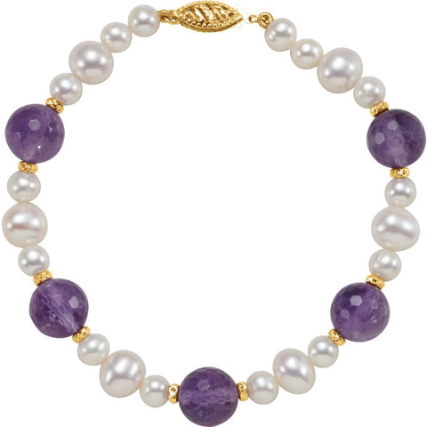"14k Yellow Gold Freshwater Cultured Pearl & Amethyst 7.5"" Bracelet"