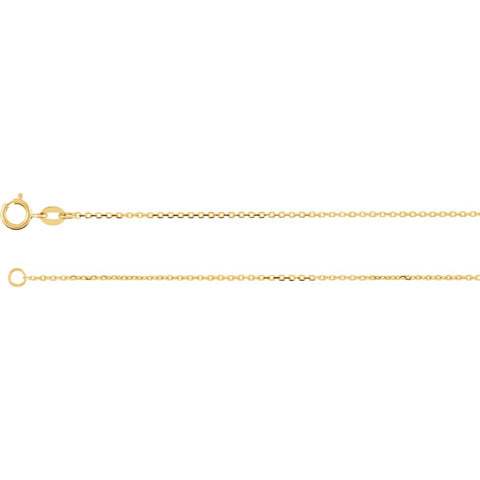"14k Yellow Gold 1mm Diamond Cut Cable 24"" Chain"