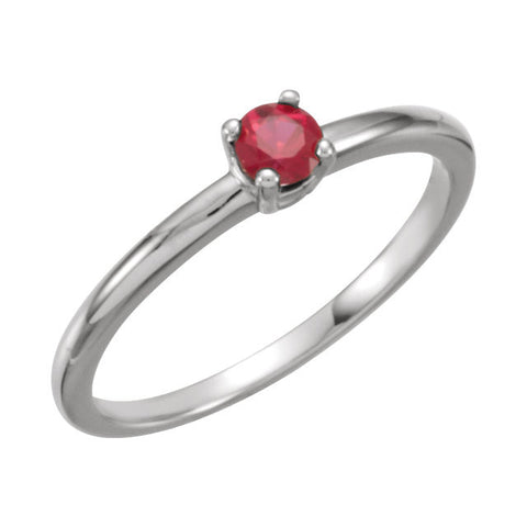 "14k White Gold Chatham« Created Ruby ""July"" Birthstone Ring for Kids, Size 3"