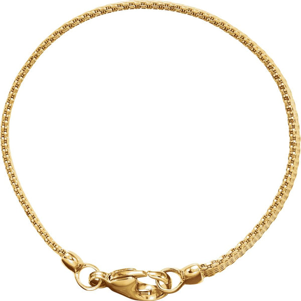 "14k Yellow Gold Solid Flat Mesh 7"" Bracelet"
