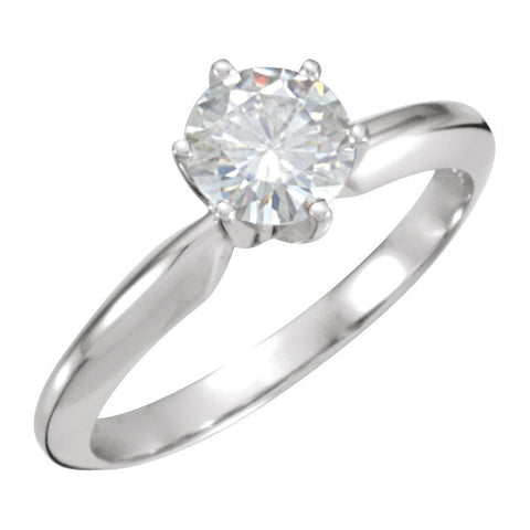 06.00 mm = 3/4 ct. Created Moissanite Solitaire Engagement Ring in 14K White Gold ( Size 6 )