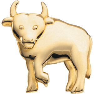 24.75x24.75 mm The Playful Bull Brooch in 14K Yellow Gold