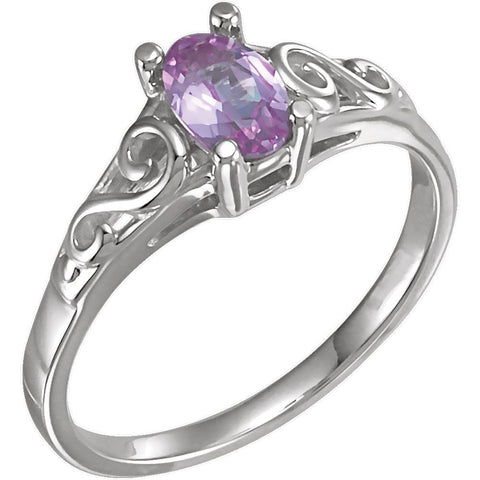 Sterling Silver October Imitation Birthstone Ring , Size 5