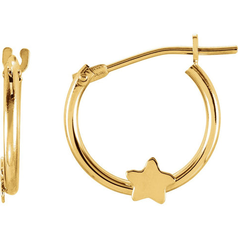 Kids Hoop Earrings With Star in 14K Yellow Gold