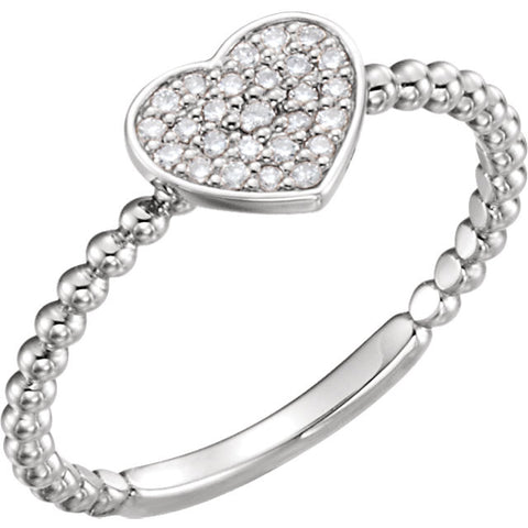 Sterling Silver 1/8 ctw. Diamond Heart Bead Ring, Size 7