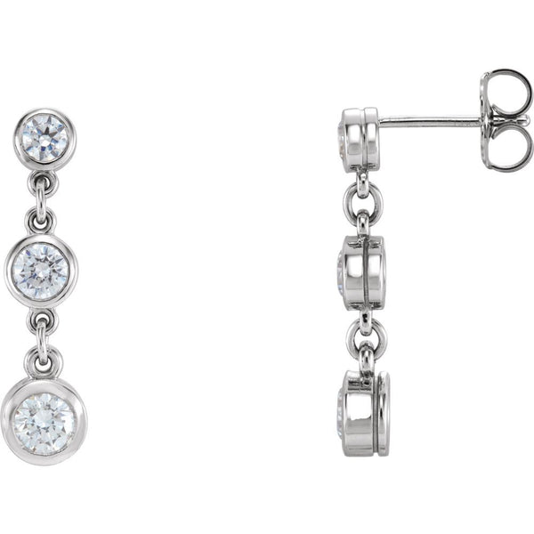 14k White Gold Cubic Zirconia Three-Stone Bezel Set Earrings
