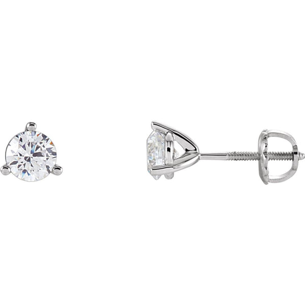 14k White Gold 5.25mm Cubic Zirconia Round 3-Prong Stud Earrings