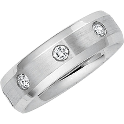 1/2 CTTW Diamond Duo Wedding Band Ring in 14k White Gold (Size 7 )