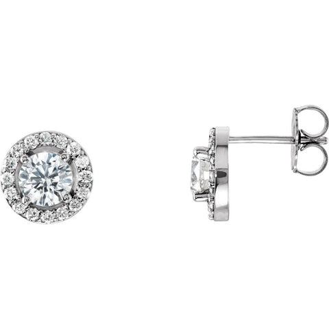 14k White Gold 1 3/8 CTW Diamond Halo-Style Earrings