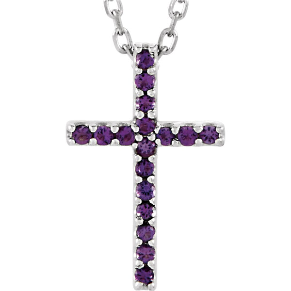 "14k White Gold Amethyst Cross 16"" Necklace"