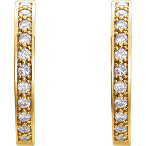 14k Yellow Gold 3/4 CTW Diamond Hoop Inside/Outside Earrings