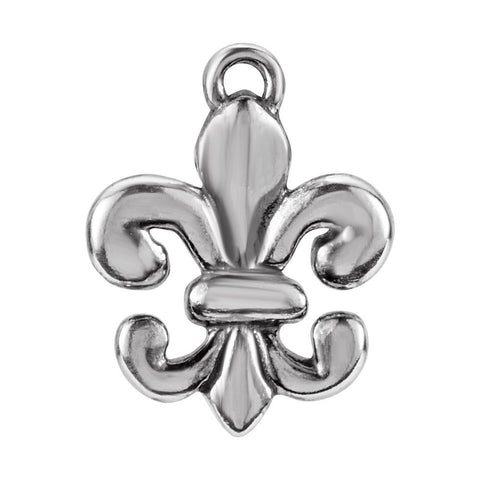 Fleur-De-Lis Design Dangle Component With Jump Ring in Sterling Silver