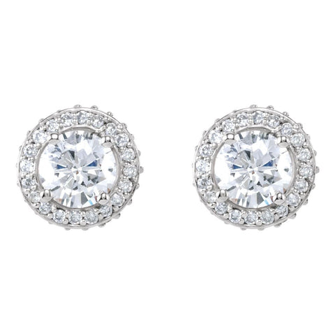 14k White Gold 1 1/3 CTW Diamond Earrings