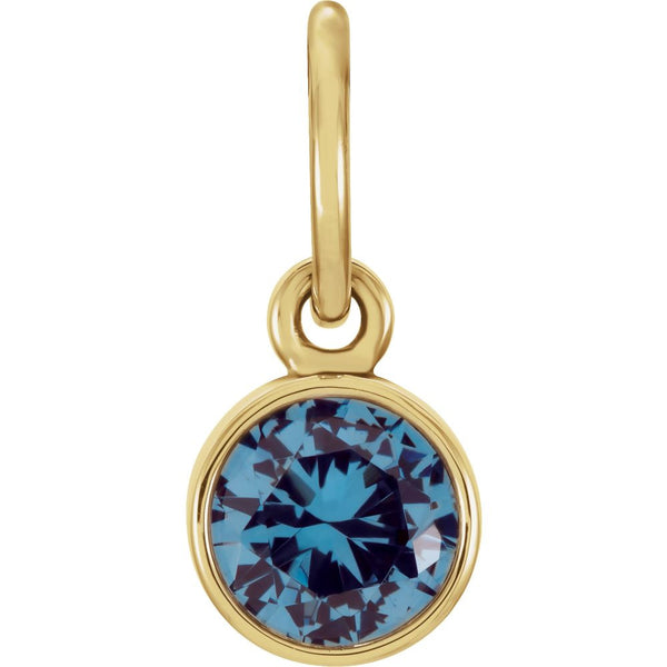 14k Yellow Gold Imitation Blue Zircon Birthstone Charm