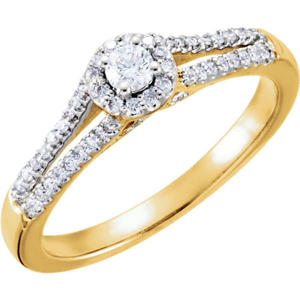 14k Yellow Gold 1/3 CTW Diamond Engagement Ring Size 7
