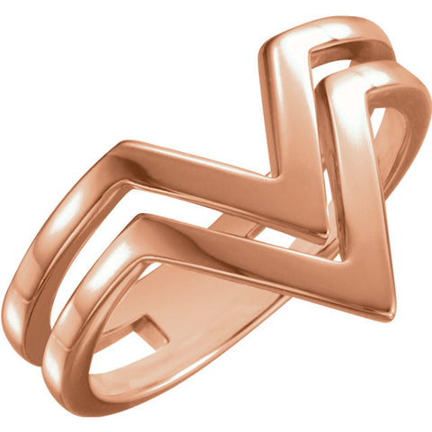 "14k Rose Gold Double Row ""V"" Ring, Size 7"