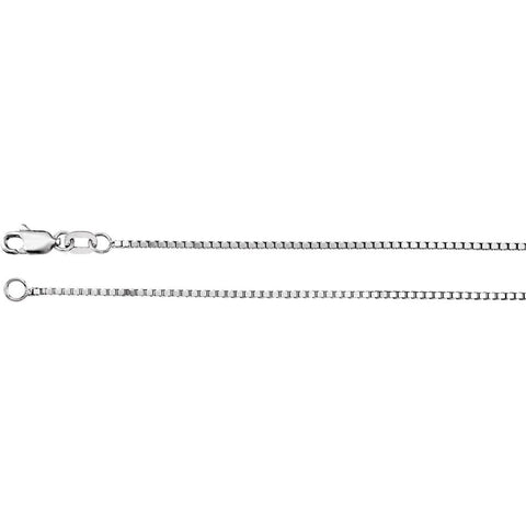 1.0 mm Box Chain in 14k White Gold ( 16-Inch )