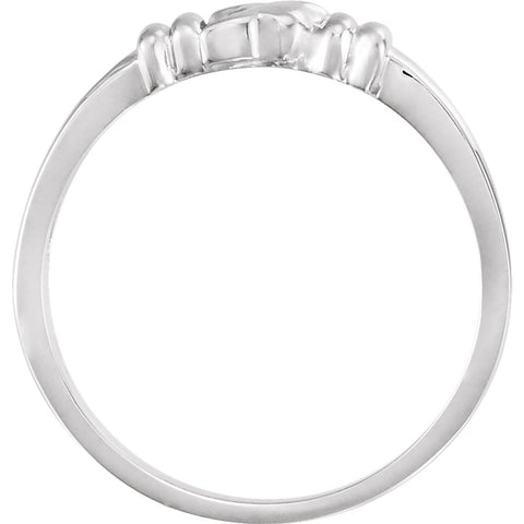 14k White Gold Holy Spirit Chastity Ring, Size 7