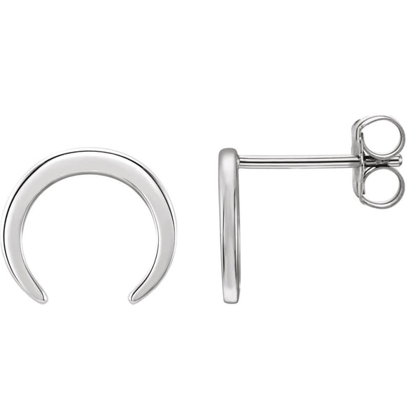 14k White Gold Crescent Earrings