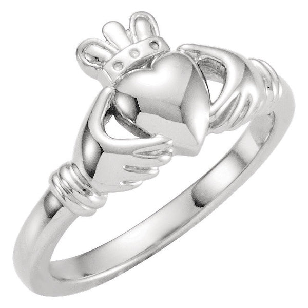 14k White Gold Youth Claddagh Ring, Size 5