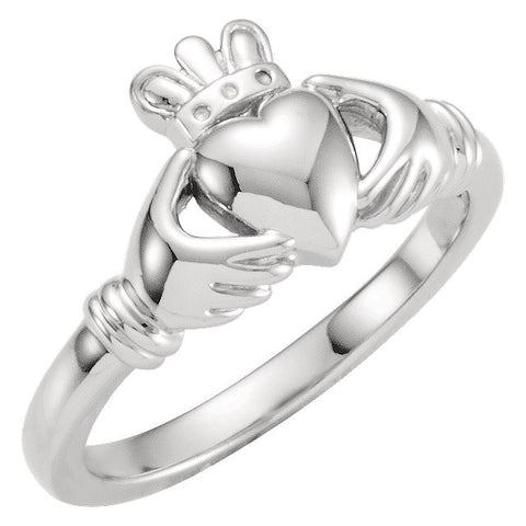 Kids' Claddagh Ring in 14K White Gold (Size 6)