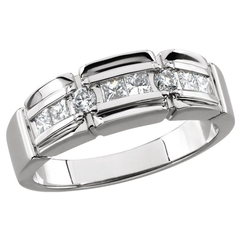 14k White Gold 3/4 CTW Diamond Accented Men's Ring, Size 11