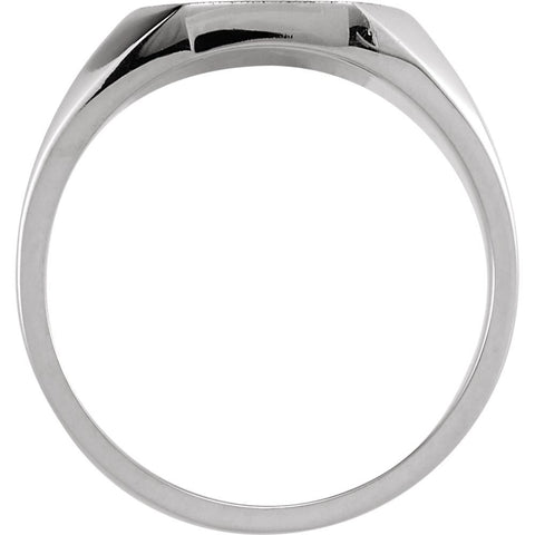 14k White Gold 9x11mm Octagon Signet Ring , Size 6