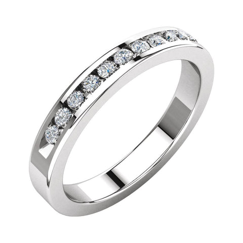 14k White Gold 1/4 CTW Diamond Classic Channel Set Anniversary Band, Size 6