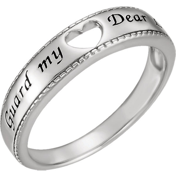 Sterling Silver Guard My Heart Ring, Size 8