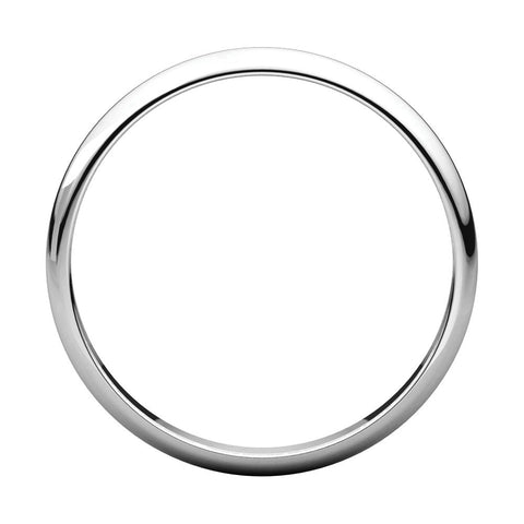 Platinum 2.5mm Half Round Light Band, Size 3