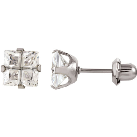 Elegant and Stylish Pair of 07.00 MM Inverness Palladium Plated Square Faceted Cubic Zirconia Earrings in Nickel Plated , 100% Satisfaction Guaranteed.