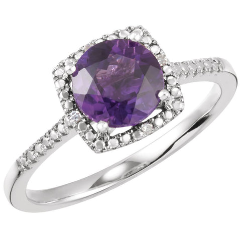 Sterling Silver Amethyst & .01 CTW Diamond Ring, Size 7